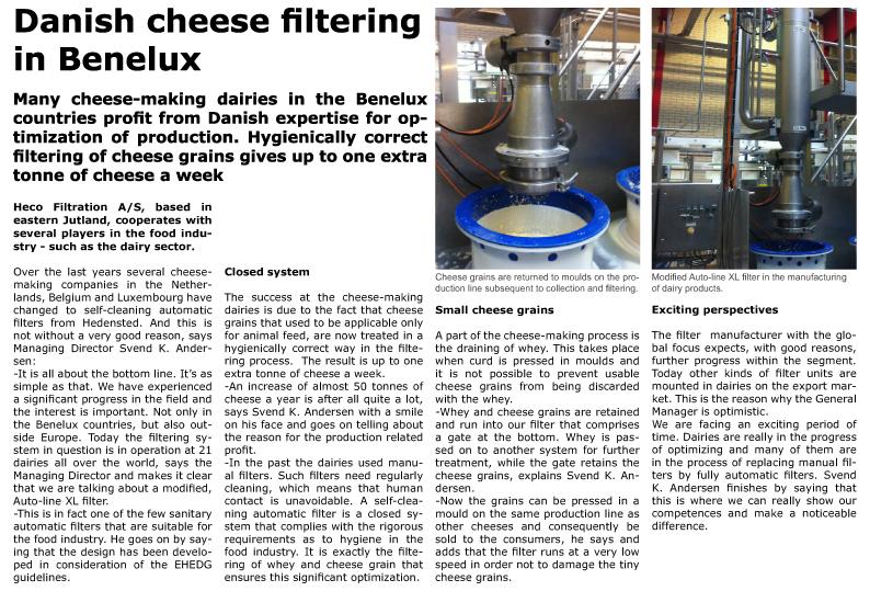 Danish cheese filtering in Benelux